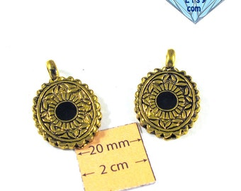 Antiqued Gold Metal Black  Enameled Center 30mm x 20mm Oval Pendant, Set of 2, 1038-15