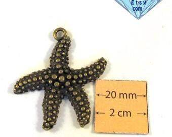 Antiqued Brass Metal 40mm x 40mm Starfish Pendant, 1023-29