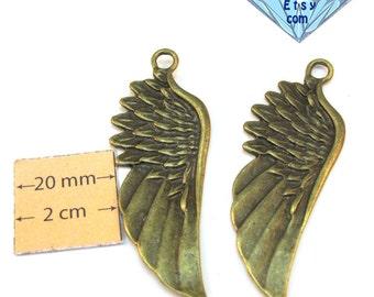 Antiqued Brass Metal 60mm x 20mm Wing Pendant, Set of 2, 1066-02