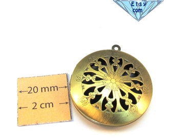 Antiqued Brass Metal 35mm Round Cut Out Top Locket Pendant, 1066-14