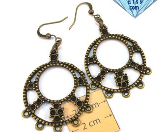 Antiqued Brass Chandelier 55mm x 30mm Round Earrings, Just Add Dangles or charms, Sold per 1 Pair, 1066-26
