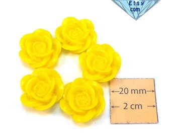 Yellow Acrylic 20mm Highly Detailed Flower Cabochons, Set of 5, 1067-02