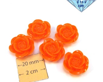 Salmon Pink Acrylic 20mm Highly Detailed Flower Cabochons, Set of 5, 1067-20