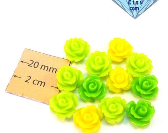 Yellow and Green Highly Detailed 11 mm Rose Cabochons, Set of 12, 1068-25