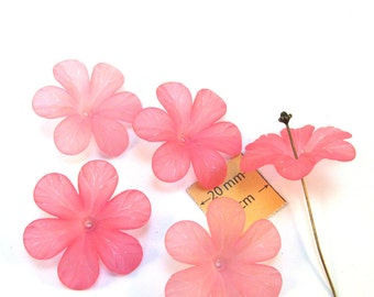 Pink Frosted Lucite 32mm Flower Beads, Set of 5, 1072-02