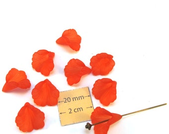 Red Frosted Lucite Trumpet Calla Lily 15mm x 12mm Flower Beads, Set of 10, 1072-17