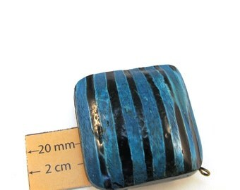 Turquoise and Black Striped Large  Horn 36mm x 36mm  Square Puff  FOCAL Bead,Sold Individually, 1074-22