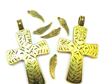 Antiqued Gold 48mm x 30mm Cross Pendant and 15mm x 5mm Wing Charms Set of 7, 1003-34