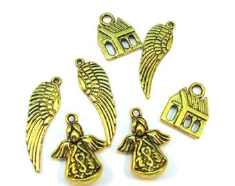 Antiqued Gold Metal 30mm x 10mm Wings, 14mm x 16mm House and 20mm x 15mm Angels Charms Set of 7, 1075-11