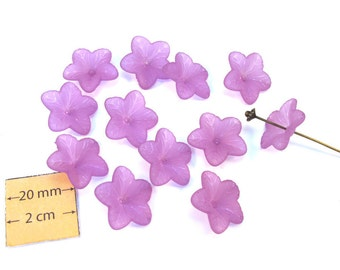 Purple Frosted Lucite 18mm Flower Beads, Set of 12, 1075-32