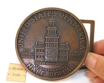 Antiqued Copper  Metal Exact Copy of famous U.S. Half Dollar Coin, 75mm Round  Belt Buckle, 1077-11