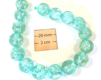 Light Turquoise Bubbled Resin 12mm Round Beads, Sold by 7 inches Strand or 16 pc, 1079-19
