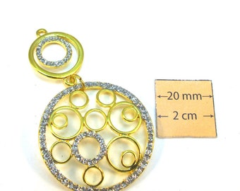 Gold Metal 65mm x 35mm Two Circles Pendant, 1079-21