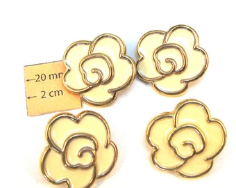 Gold and Cream Vintage Acrylic Flower Buttons, 25mm, Set of 4, 1080-12
