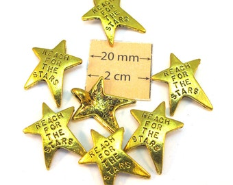 Antiqued Gold Metal 25mm x 20mm Star Pendant/Charm with a Hidden Back Loop, Set of 6, 1052-05-a