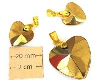 Antiqued Gold Faceted Glass, Gold Plated Bail, HEART  35mm x 28mm Pendant and 25mm x 17mm Two Charms Set, 1013-12