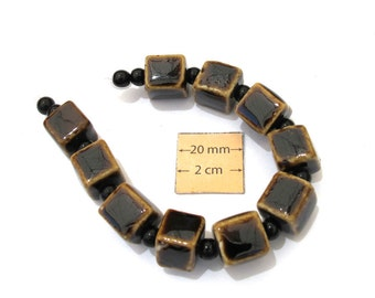 Brown Porcelain, 12mm Cube Beads, Set of 10, 1055-63