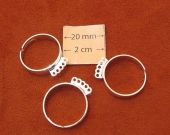 Silver Plated Adjustable 5-loop Ring Base Set of 3, 1025-23