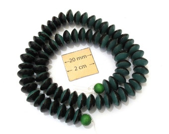 Emerald Green and Black Two Colored 10mm x 6mm Disc Shape Acrylic Beads, Sold per 13 inches Strand, 1025-26