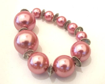 Pink Graduated Pearl Round Beads 20mm, 15mm, 10mm, metal spacers included, Sold per 10 pc,  1083-10