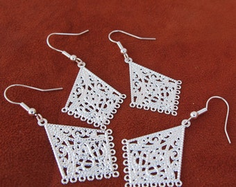 Silver Plated  Chandelier 50mm x 25mm Filigree Style Earrings, Just Add Dangles, Sold per 2 Pairs, 1007-20