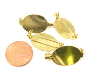 Gold Color Metal 20mm x 14mm Oval Plain Pin Base Great for any Decoration Set of 4, 1032-30