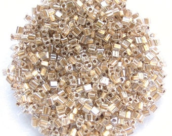 Gold Lined Triangle Japanese Seed Beads Size 11/0 (12 beads per 1 inch) Sold per 10 grams 1002-12