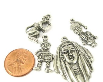 Antiqued  Silver Metal Charms, Set of 4, 1024-08