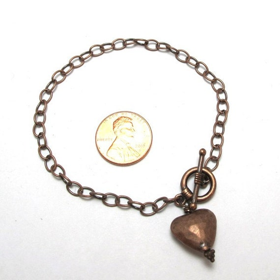 Antiqued Copper Chain Bracelet with a Heart Dangle and Toggle Clasp is ready for Charms or Dangles,8 inches, (A015)