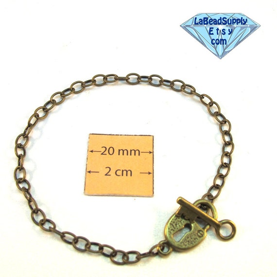 Antiqued Brass Chain Bracelet with Lock and Key Toggle Clasp is ready for Embellishment 8 inches (20.3cm), A107