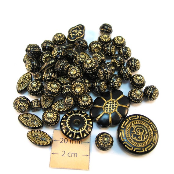 Black and Gold  Acrylic Assorted  Beads Mix, Sold per set of 60pc, 1073-14
