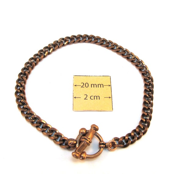 Antiqued Copper Chain Bracelet with a Decorative Toggle Clasp is ready for Charms or Dangles, 8 inches, A110