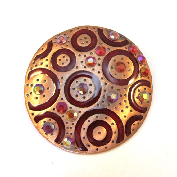 Antiqued Copper  Metal Red Enamel and Jewels 45mm Round Pendant with Back Hidden Loop, 1076-10-2