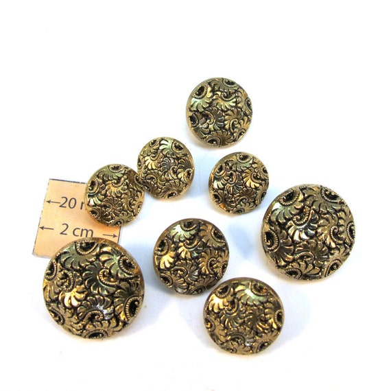 Antiqued Gold Metal Vintage Acrylic Buttons, 25mm, 18mm and 15mm, Set of 8, 1079-07