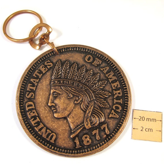 Antiqued Copper Metal Exact Copy of famous Indian Head U.S. 1 cent Coin, 75mm Round  Key Chain/ Purse Charm, 1077-18