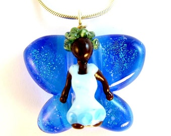 Earth Faery Necklace (Lampworked)