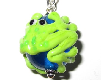 Lampworked Froggy Glass Bead Necklace