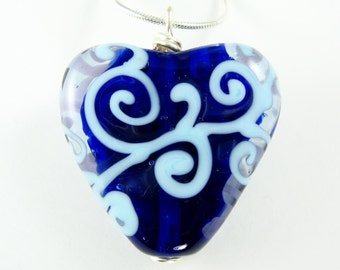 Blue Vines Heart  (Lampworked)