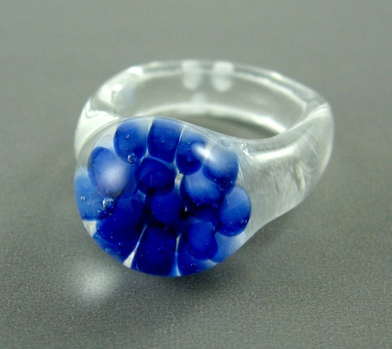 Blue Implosion Ring Lampworked