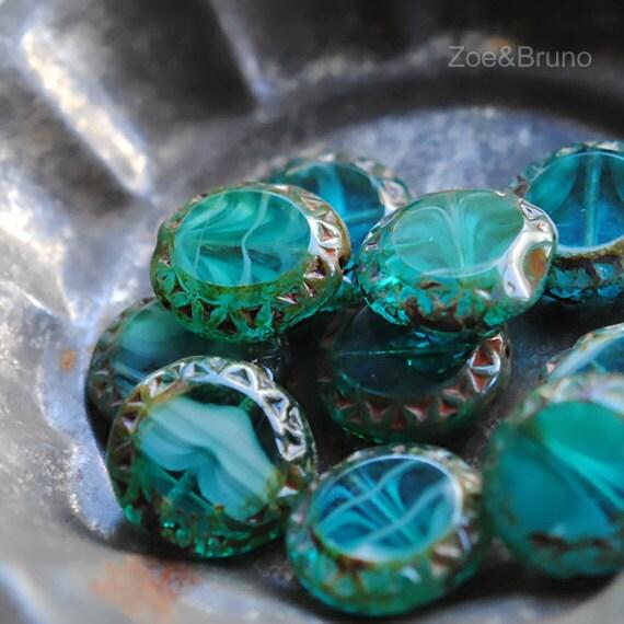 Last Listing - 4 Turtle Island - Czech Glass Blue Green Coin Beads