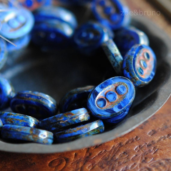 Last Listing - 4 Out Of The Blue - Czech Glass Blue 3 Dot Oval Beads