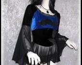 MOON SHADOW Sapphire Blue Black Velvet Top Guipure Romantic Goth Medieval