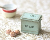 Dollhouse Accessories- Shabby Chic Mint Green Bread Box