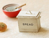 Dollhouse Accessories- Shabby And Chic Antique White Bread Box