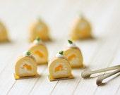 Dollhouse Miniature Food - Mango Swiss Roll Cake Slices 1/12 dollhouse miniature scale