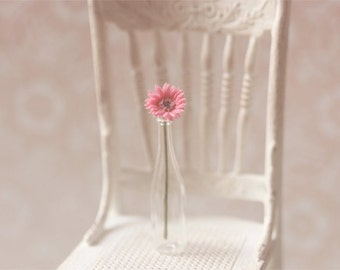 Dollhouse Miniature Flowers - Gerbera Daisy Medium Pink
