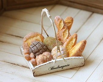Miniature Food - Dollhouse Assorted Breads in Rustic Tray