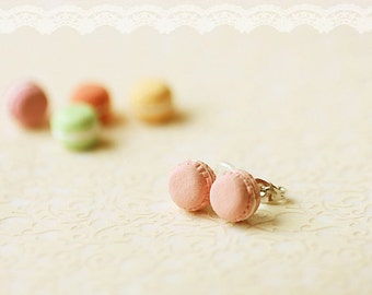 Food Jewelry - French Macaron Earrings - Pink Macarons Earrings
