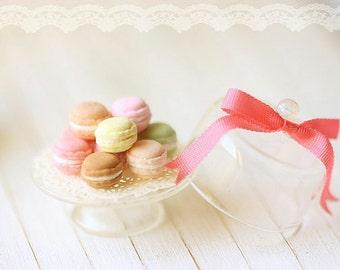Dollhouse Miniature Food - Sweet Macarons on Glass Display Stand - 1/12 Dollhouse Miniature Scale - For Lati Yellow or Pukifee Dolls