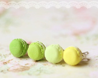 Food Earrings - French Macaron Earrings in Green and Yellow Series